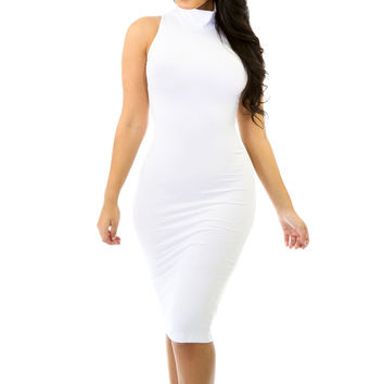 New Solid Fitted Sleeveless Turtleneck Stretch Bodycon Dress Size S M L GT9179