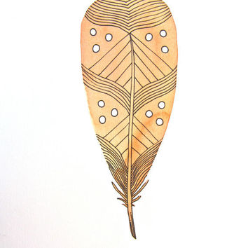 Feather Watercolor Painting by RiverLuna on Etsy