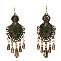 Fall In Love Tassel Earrings In Olive