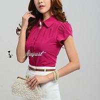 Womens Summer Blouse Slim Fit Shirt Work Wear Office Tops