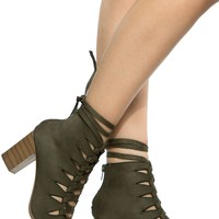 Khaki Faux Suede Chunky Cut Out Lace Up Booties
