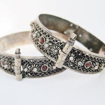 Matching Pair of Silver and Garnet Middle East Bracelets