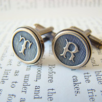 Custom Initial Cufflinks, Wedding Cufflinks, Groomsmens Gifts, Made to Order - Antiqued Brass