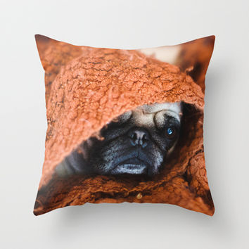 Nat. Geo Pug in a Blanket Throw Pillow by Spirit Young