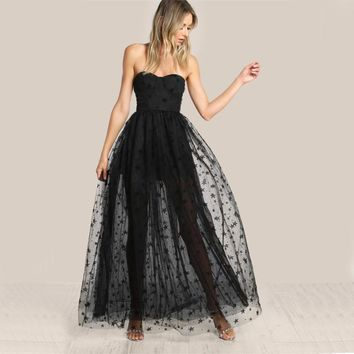 Strapless Bustier Lace Overlay Dress