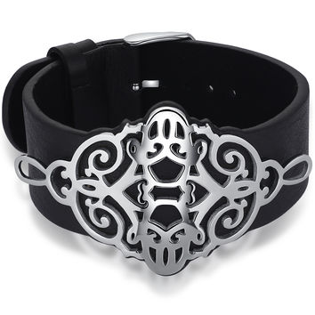 Leather and Stainless Steel Smiley Belt Buckle Bracelet