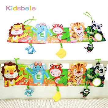 Baby Toys Crib Hanging Book Soft Rattles Toy Early Learning Educational For Kids Infant Coloring Animal Squeaky Baby Cloth Book