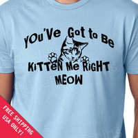 You've got to be KITTEN ME right MEOW T-shirt funny cat shirt Back To School special s-2xl choose  color