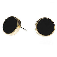 American Apparel - Black Large Round Post Earrings