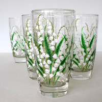Fifties Libbey Cooler Glasses Lily of the Valley set of 5 Green and White Mid Century Barware or Kitchen Glasses