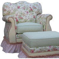 Angel Song 201721108DOWN English Bouquet Adult Empire Glider Rocker w/ Plush Down Cushion