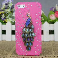 Crystal Peacock Light Pink Hard Case Cover for Apple iPhone5 Case,iphone 5 case,iphone 5 cover,iphone 5g case,
