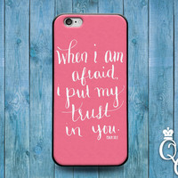iPhone 4 4s 5 5s 5c 6 6s plus iPod Touch 4th 5th 6th Generation Cool Pink Girly Bible Psalm Verse Quote Cover Custom Trust Word of God Case