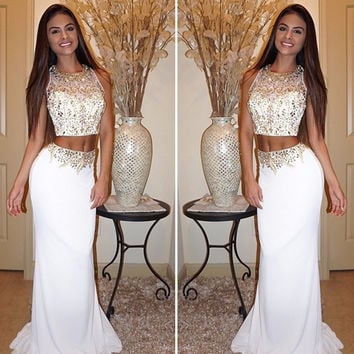 2017 Sale  White 2 Piece Prom Dresses O-Neck Golden Beaded Long Elegant Sleeveless Crop Top Mermaid Prom Dresses robe de soiree