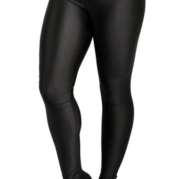 BadAssLeggings Women's Shiny Candy Neon Leggings XL Black