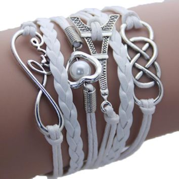 Infinite Love in Paris Hand Crafted Silver Finished Charms Wrap Bracelet Jewelry