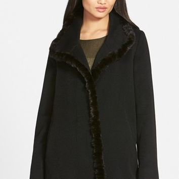 Women's Fleurette Genuine Mink Trim Piacenza Wool Blend Coat,