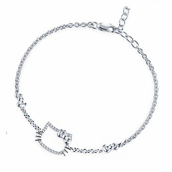 925 Sterling Silver Jewelry Hello Kitty Bracelet For Girls Cute Design Fine Jewelry Women's Fashion Accessories