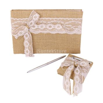 Vintage Wedding Burlap Hessian Lace Bowknot Guest Book Pen Set