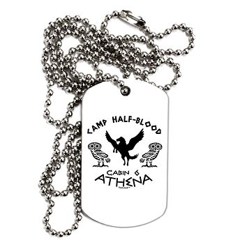 Camp Half Blood Cabin 6 Athena Adult Dog Tag Chain Necklace by TooLoud