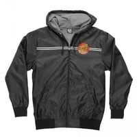 Santa Cruz Dot Hooded Windbreaker Jacket Black - Pacific Wave Surf Shop
