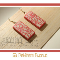 5B Pinkfriars Avenue - Wooden Hand Painted Earrings, Jewelry, Jewellery, Wood Earrings, Houses Earrings