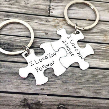 I love you always forever, Couples Keychains, Engagement gift