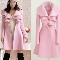 iOffer: women pink trench long coat wool blend jacket outwear for sale