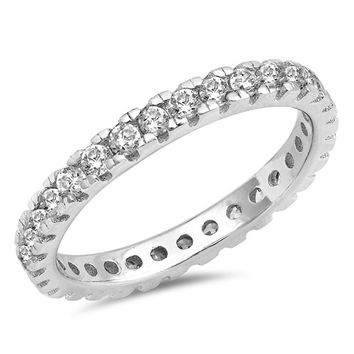 A Perfect 6TCW Russian Lab Diamond Wedding Bands Eternity Infinity Ring