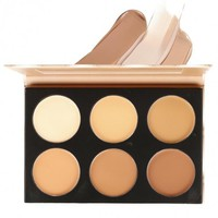 6 Colors Contour Face Cream Makeup Cosmetic Kit Concealer Palette With Mirror