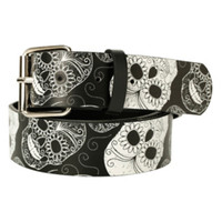 Black & White Sugar Skull Belt