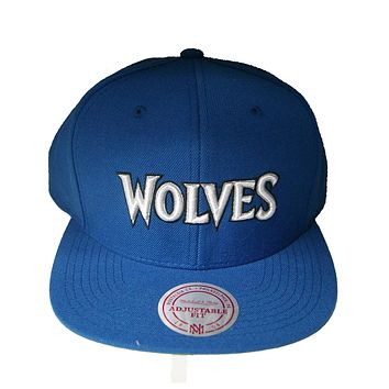 NBA Mitchell Ness Throwback Wordmark Minnesota Timberwolves Wool Snapback  Blue 0aed4bca62c9