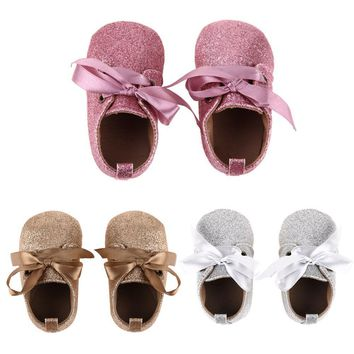 Baby Girl Shoes Glitter First Walkers Soft Sole Lace Up