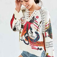 Ecote Circus Dreams Lace-Up Pullover Sweater