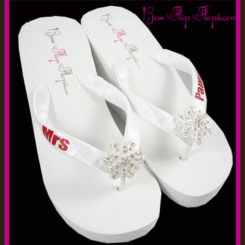 Mrs Wedge Bridal Flip Flops Rhinestone Vintage Flower Jewel Bling Satin New Last Name Ivory white wedge platform  Wedding Bride heel brides