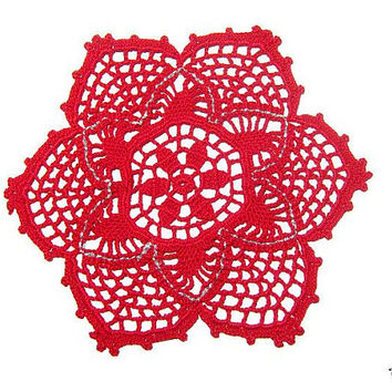 Red Christmas crochet doily, Christmas table decorations, Centrino rosso Natale