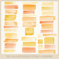 Watercolor clipart strokes squared (140 pc) yellow orange sunny spring. hand painted overlays logo design blogs cards printables wall art