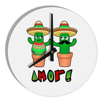 "Fiesta Cactus Couple Amor 8"" Round Wall Clock  by TooLoud"