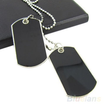 Army Style Black 2 Dog Tags Chain Beauty Mens Pendant Necklace ( can't write words on tag) cool = 1652809732