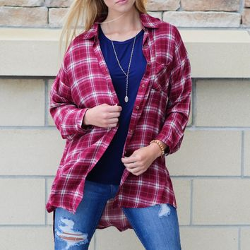 * You Got Me Hooked Plaid Top: Red