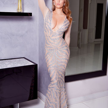 PALMA GOWN IN NUDE WITH SILVER