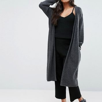 Micha Lounge Gray Rib Knited Cardigan at asos.com