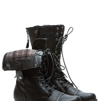 Plaid It Up Black Fold Over Faux Leather Combat Boots