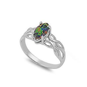 Sterling Silver Wicca Celtic Marquise 9MM Black Lab Opal Ring
