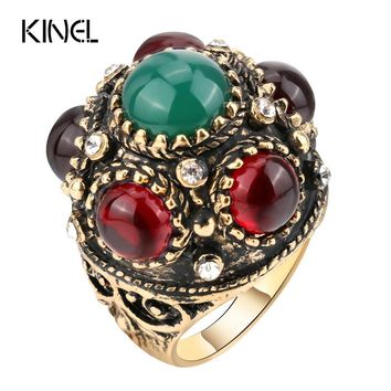Kinel Unique Antique Ring Thrones Game Retro Look Gold Color Punk Rock Rings For Women Vintage Jewelry