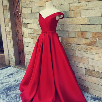 A-Line Off Shoulder Red Prom Dresses