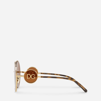 Women's Sunglasses | Dolce&Gabbana - ROUND METAL SUNGLASSES WITH DG LOGO