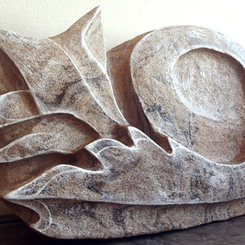 Carved Stone Sculpture - Carved Fox Sculpture. Stone ornament. Fox Statue, Fox Sculpture, Woodland art, Stone Carving, Rustic, Nature