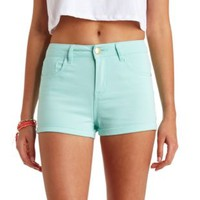 "Refuge ""Hi-Rise Shortie"" High-Waisted Shorts - Mint"