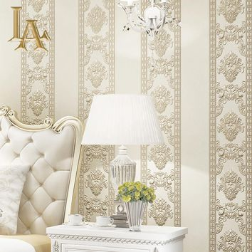 Simple Luxury 3D Embossed European Style Damask Wallpaper For Walls Bedroom Living room TV Background Home Wall paper Rolls